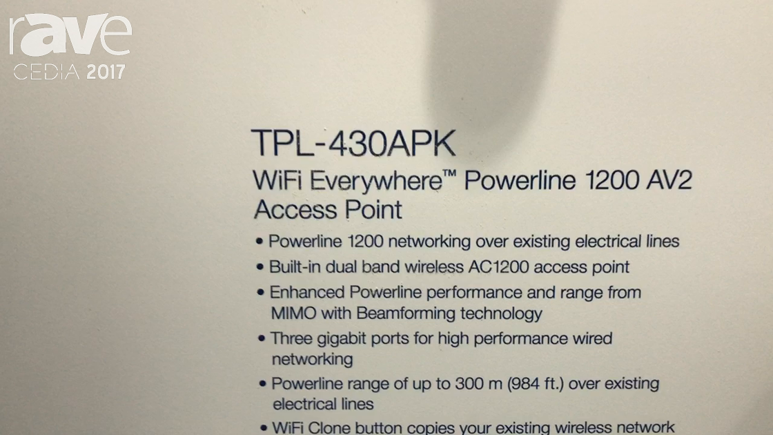 CEDIA 2017: TRENDnet Shows TPL-430APK WiFi Everywhere Powerline 1200 AV2 Access Point