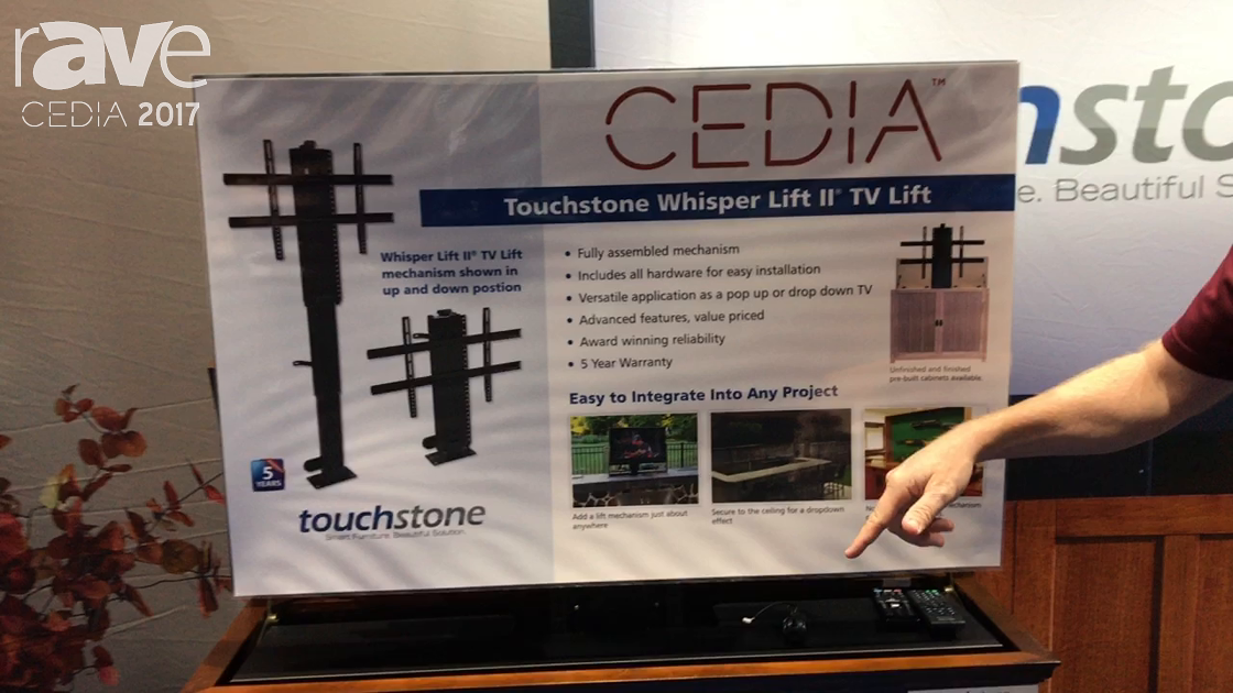 CEDIA 2017: Touchstone Shows Off Elevate Espresso TV Lift Cabinet