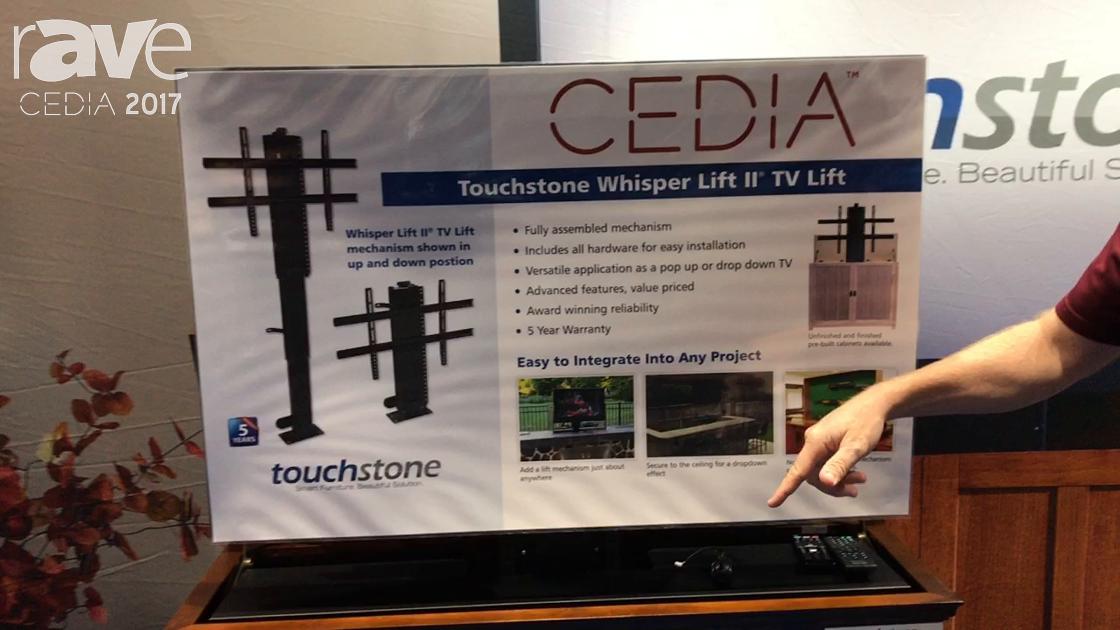 CEDIA 2017: Touchstone Shows Off Elevate Espresso TV Lift Cabinet