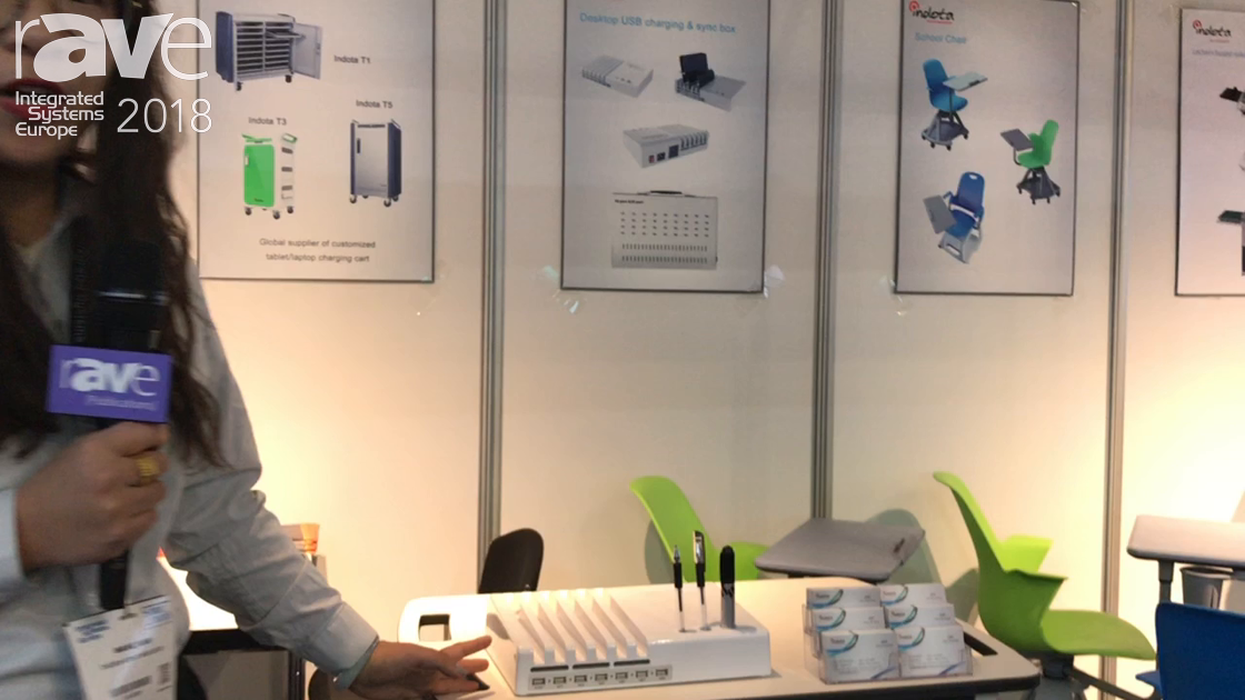 ISE 2018: Indota-Smart Education Shows a Charging Cart for Tablets and Laptops