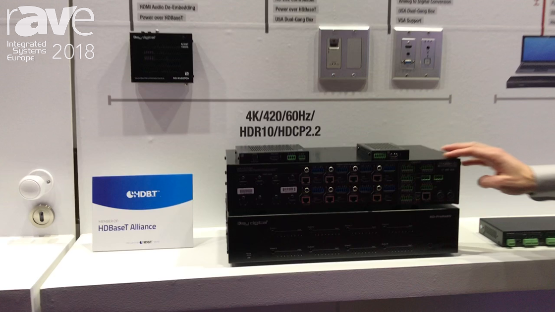 ISE 2018: Key Digital Shows KD-Pro8x8D HDMI/HDBaseT Matrix Switcher with Audio De-embedding