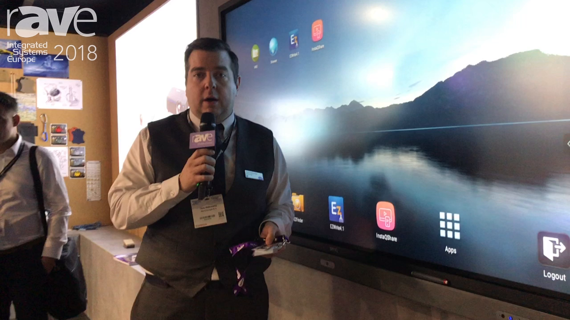 ISE 2018: BenQ Demos RP860K Interactive Flat Panel With NFC Sensor and Integrated Soundbar