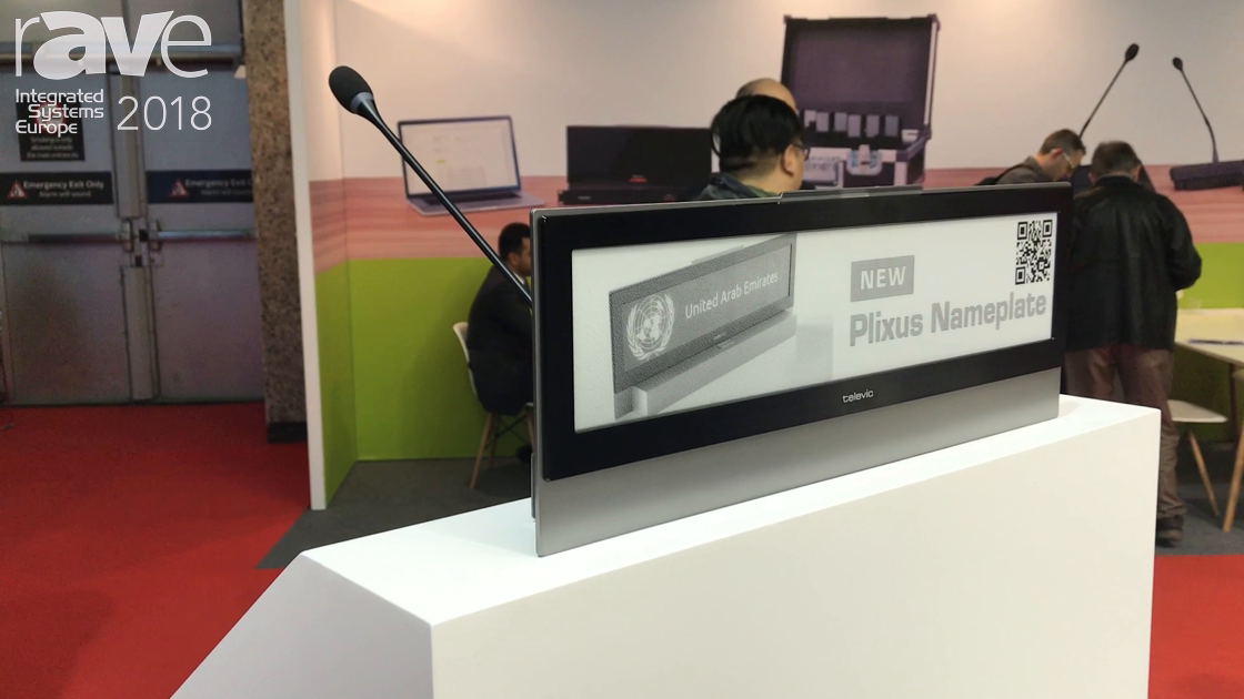 ISE 2018: Televic Conference Introduces Plixus Electronic Nameplace with e-Ink Technology