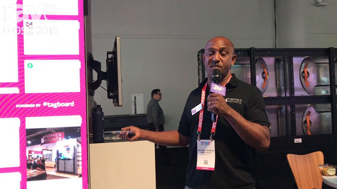 DSE 2018: Premier Mounts Demos FXWA Scissor Mount System With Pop-Out Huge Video Wall