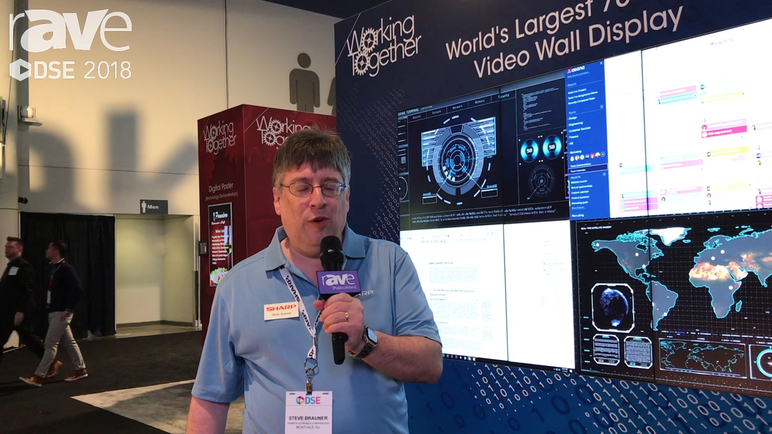 DSE 2018: Sharp Demos PN-V701 Display in Video Wall Format With Partner Userful