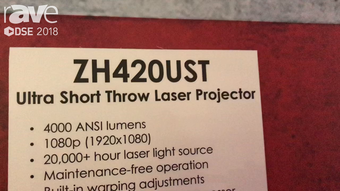 DSE 2018: Optoma Intros ZH420UST 4,000 Lumen Ultra Short Throw Laser Projector With Image Blending