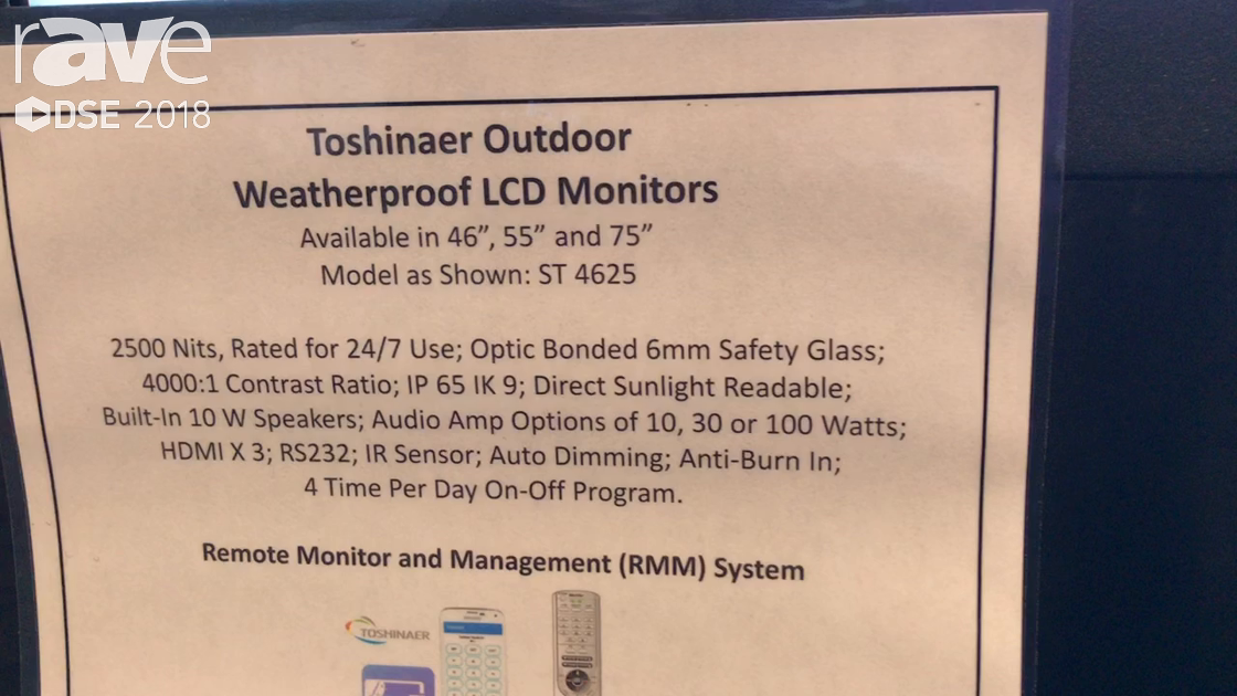 DSE 2018: Toshinaer Exhibits ST 4625 Outdoor Weatherproof LCD Monitor