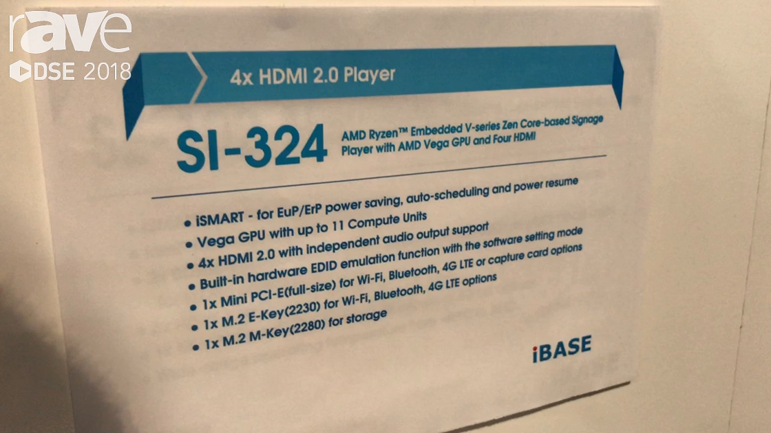 DSE 2018: IBASE Technology Talks About SI-324 4X HDMI 2.0 Player