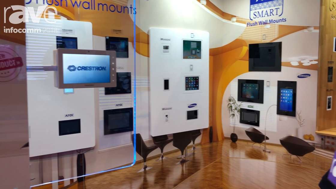 InfoComm 2018: Wall-Smart Features New Mount for Crestron TSW in Glass Installation