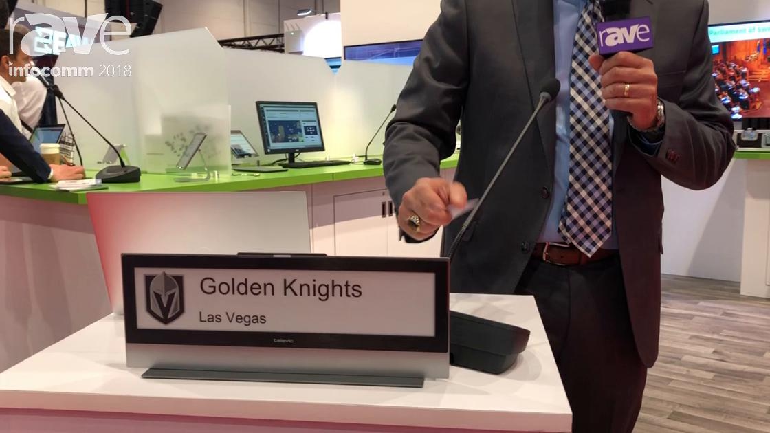 InfoComm 2018: Televic Conference Features Its Dual-Sided, Ultra-Thin E-Ink Plixus Nameplate