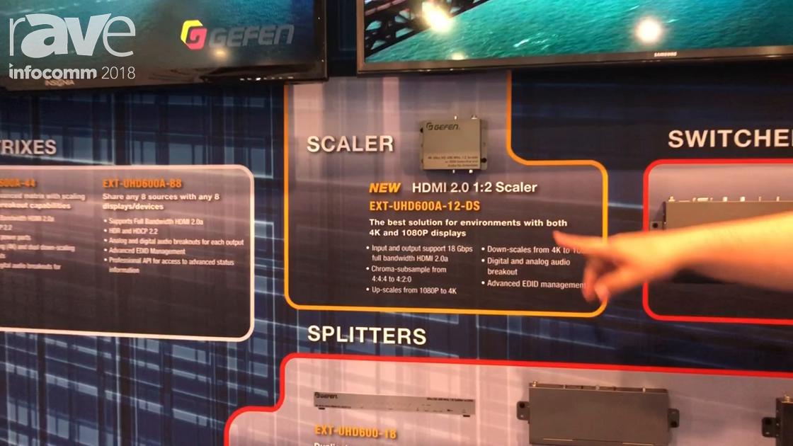 InfoComm 2018: Gefen Showcases Its EXT-UHD600A-12-DS HDMI 2.0 1×2 Scaler