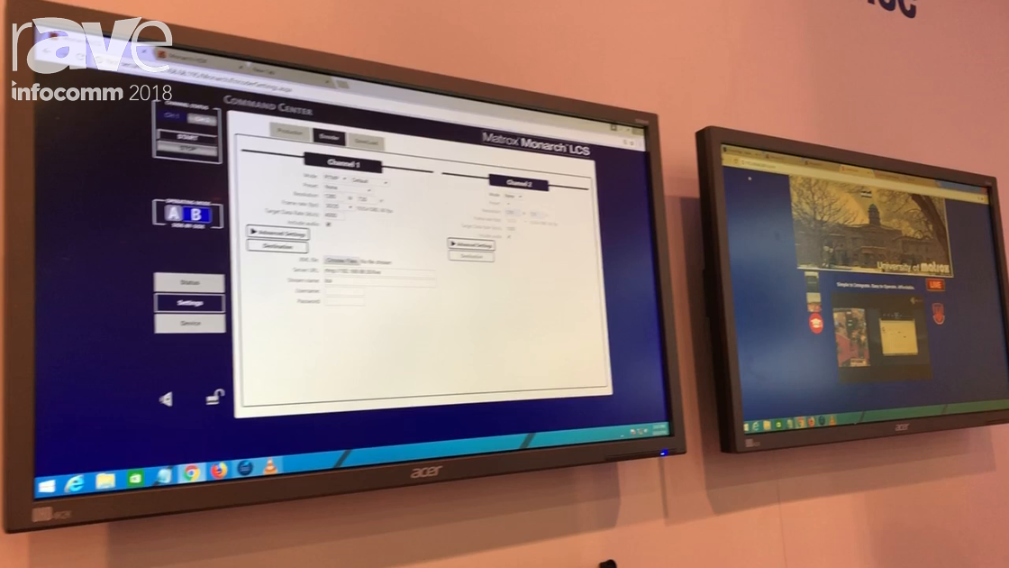 InfoComm 2018: Matrox Features Monarch LCS Lecture Capture Encoding Solution