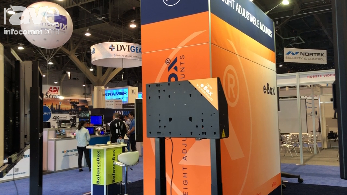 InfoComm 2018: e-Box Highlights Mobile Stand Electronic Mounting System