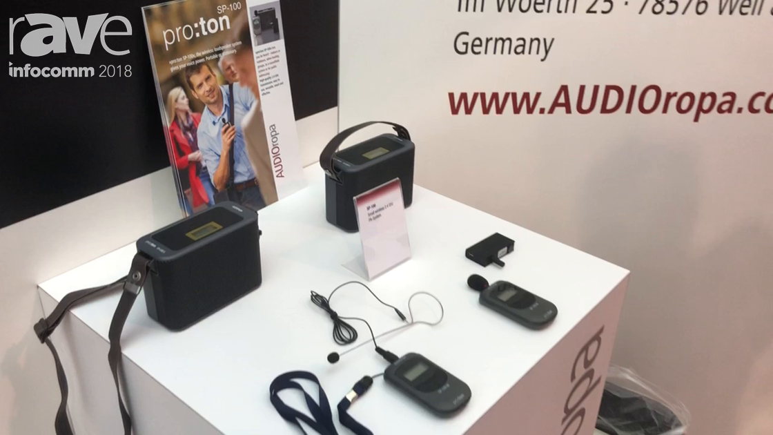 InfoComm 2018: AUDIOropa Shows Small SP-100 Proton Wireless Microphone and Portable Speaker System