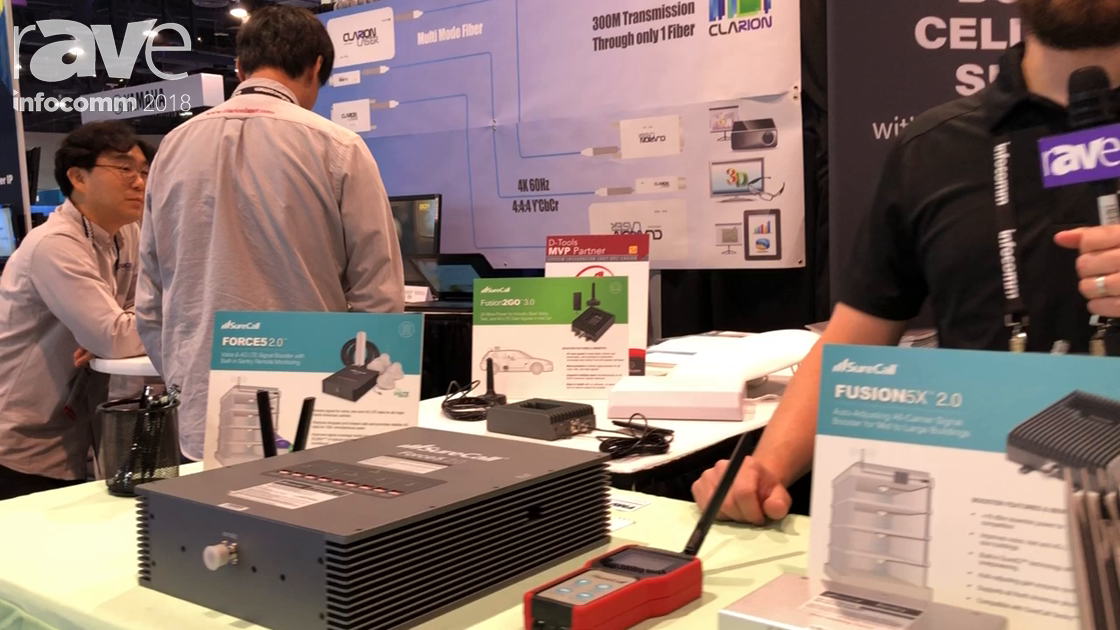InfoComm 2018: SureCall Shows FORCE5 2.0 Cell Phone Signal Booster and Modem for Remote Monitoring