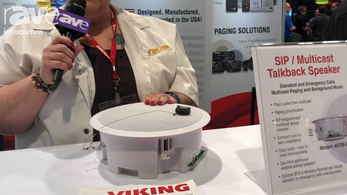 InfoComm 2018: Viking Electronics Shows 40TB-IP SIP Hands-Free Talkback Paging Speaker