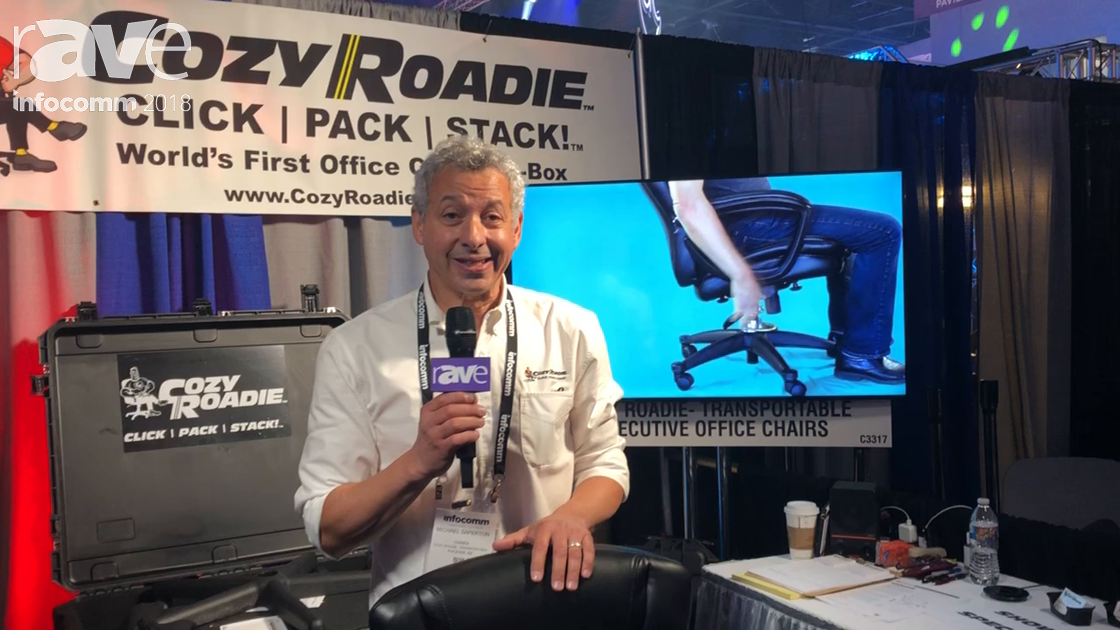 InfoComm 2018: Cozy Roadie Exhibits Click Pack Stack Packable (In A Box) Office Chair