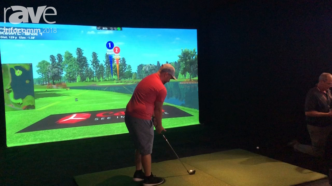 InfoComm 2018: Canon Demos an aboutGolf Simulator With a 4K 600STZ Laser Projector