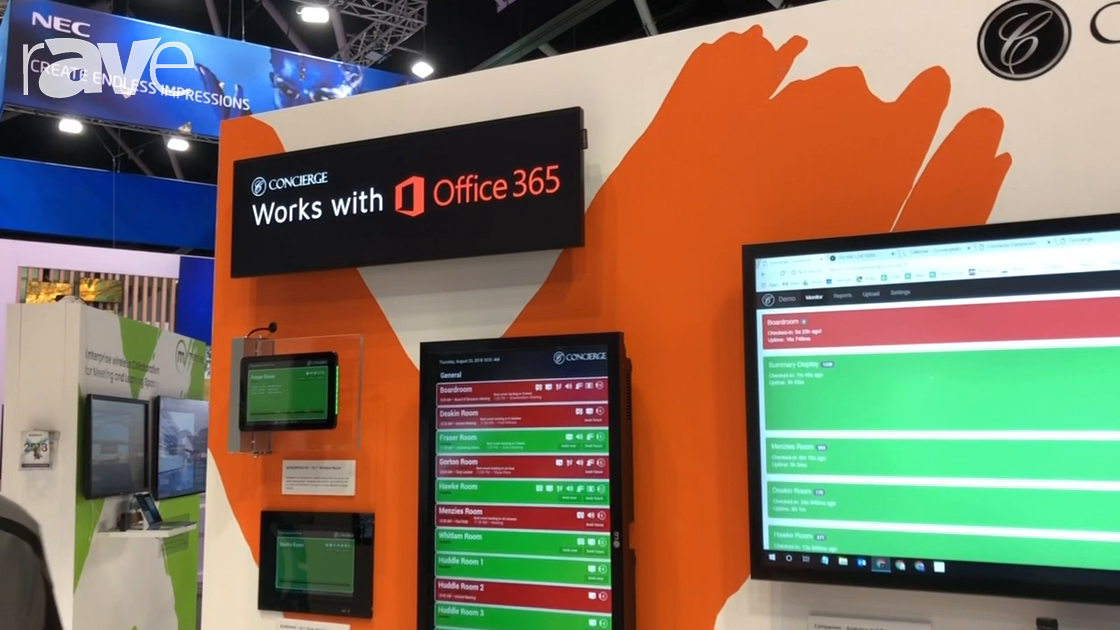 Integrate 2018: Midwich Exhibits Concierge Displays Meeting Room Signs and Booking Display Solutions
