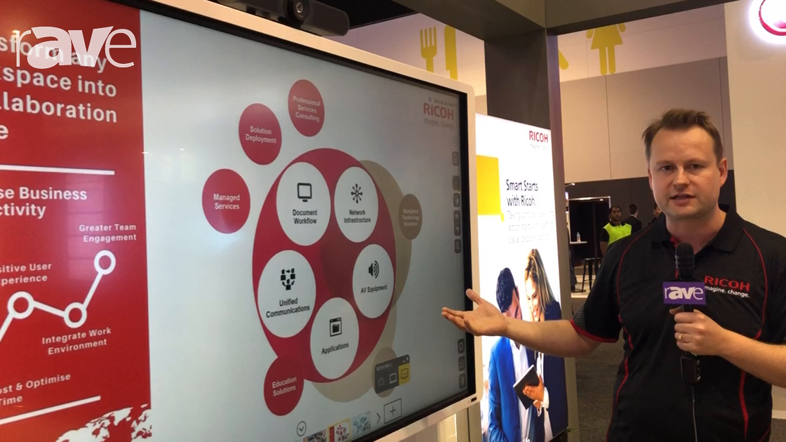 Integrate 2018: Ricoh Shows Off Interactive Whiteboard Solution Paired with Logitech MeetUp for UCC