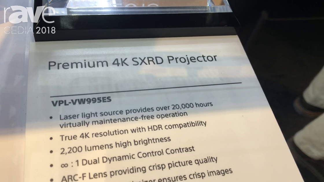 CEDIA 2018: Sony Electronics Debuts VW995ES 4K SXRD Projector