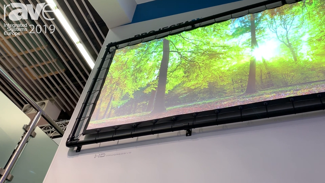 ISE 2019: Projecta Demos the EyeletPro Projection Screen