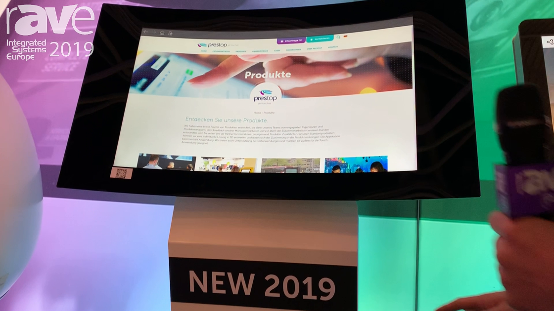 ISE 2019: Prestop Showcases Interactive Curved Kiosk