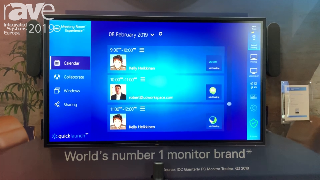 ISE 2019: UC Workspace Shows Quicklaunch Version 4 on a Dell Interactive Touch Screen Monitor