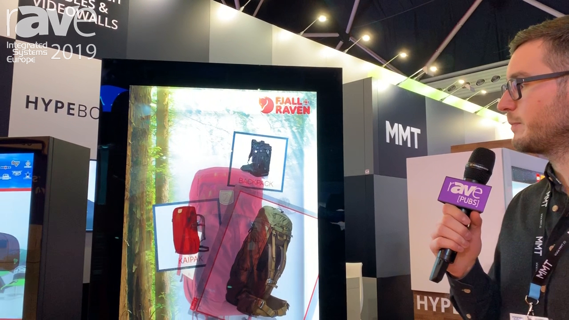 ISE 2019: MMT Demos the HYPEBOX 49″ Stele Semi-Transparent Interactive Touch Display for Retail