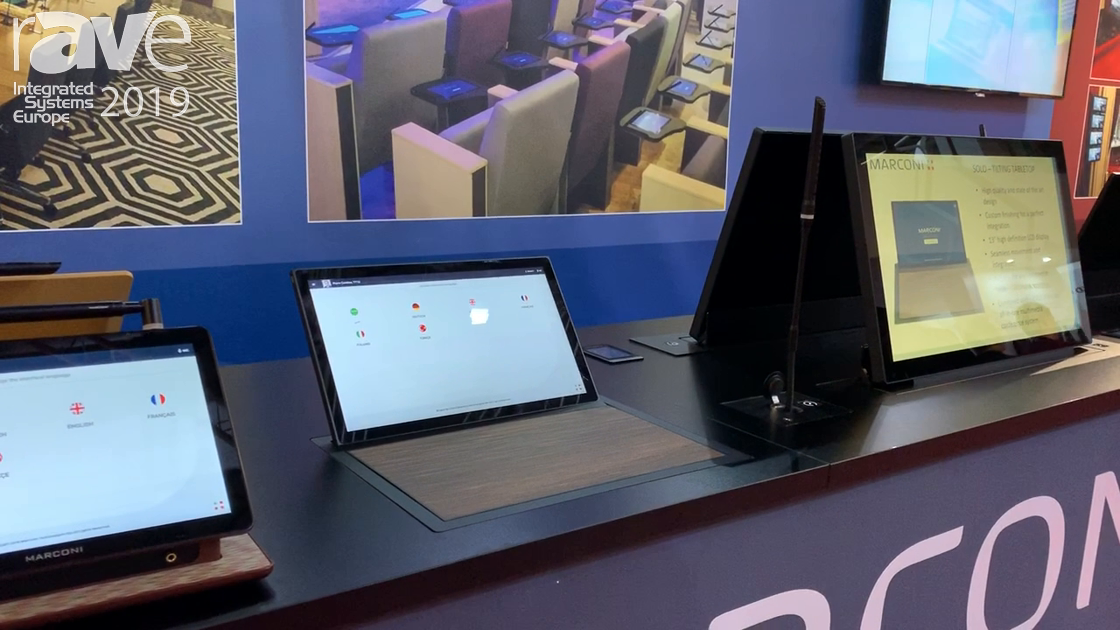 ISE 2019: Marconi Shows 13″ In-Table Manual Tilting Display With Built-In Conference Control