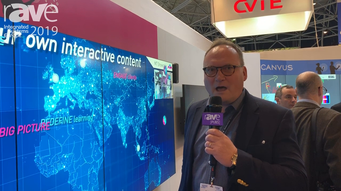 ISE 2019: MultiTaction Demos MT Showcase Presentation Software on 55″ Video Wall Touch Screen