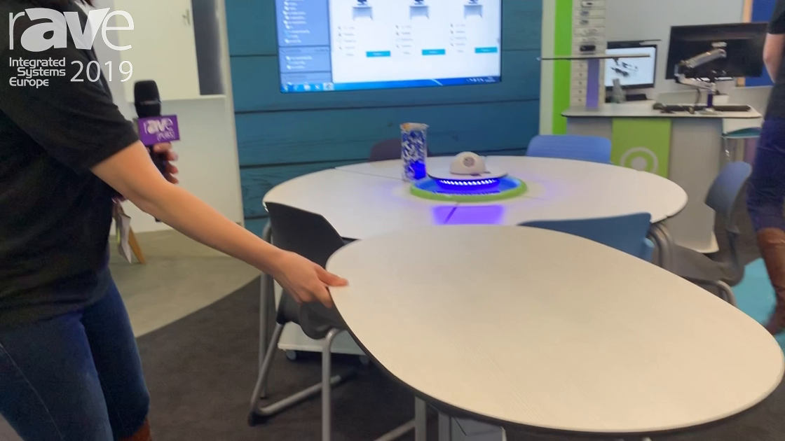 ISE 2019: zioxi Demos Height-Adjustable Huddle Table and Battery-Powered Power Hub