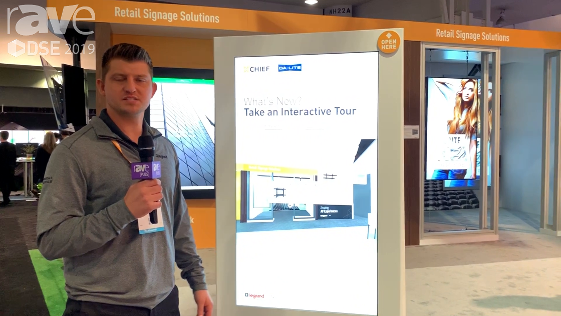 DSE 2019: Chief Demos Its 55-Inch Floor Mounted Impact Kiosk in Back-to-Back, Baseless Design