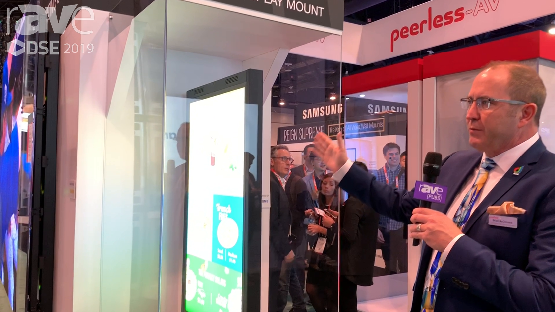 DSE 2019: Peerless-AV Shows a Custom Mount for the Samsung OMN-D Dual-Sided Retail Window Display