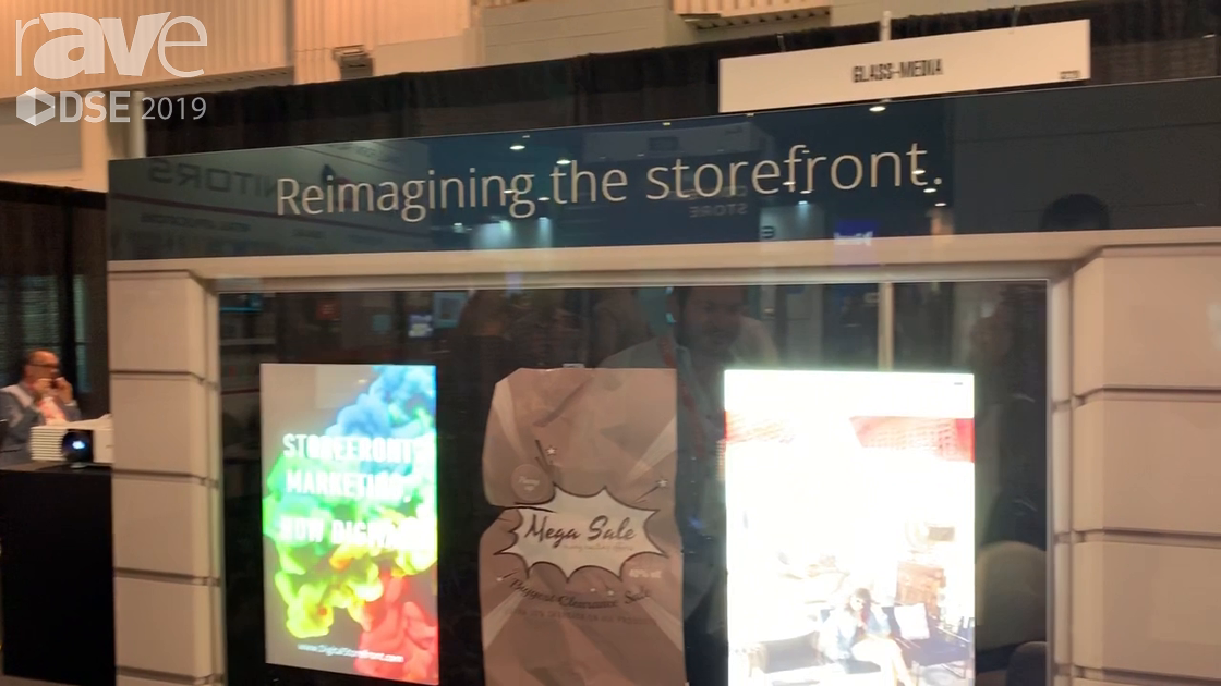 DSE 2019: Glass Media Makes an LCD Passive Substrate for Rear Projection on Glass for Retail Windows