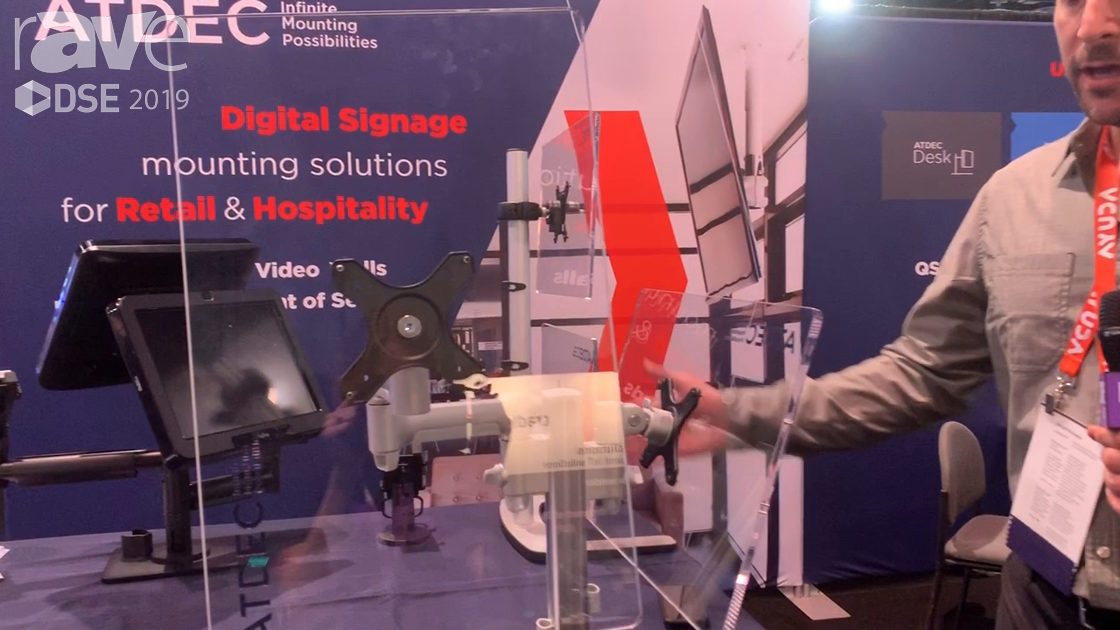 DSE 2019: ATDEC Highlights Its Modular AWM Mounting Series for Point of Service Display Mounts