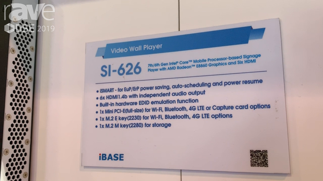 DSE 2019: IBASE Technology Talks SI-626 Video Wall Player