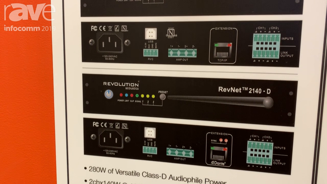 InfoComm 2019: Revolution Acoustics Introduces Its NEw RevNet 2140(-D) Amplifier