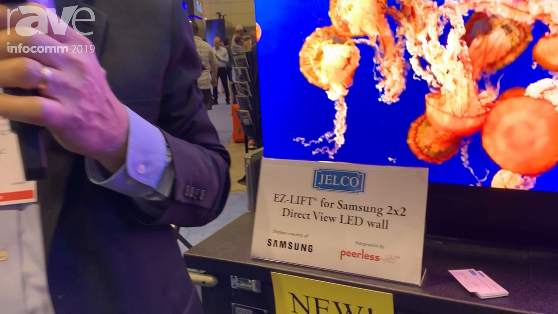 InfoComm 2019: Jelco Presents EZ-LIFT for Samsung 2×2 Direct View LED Wall with Peerless-AV Mount