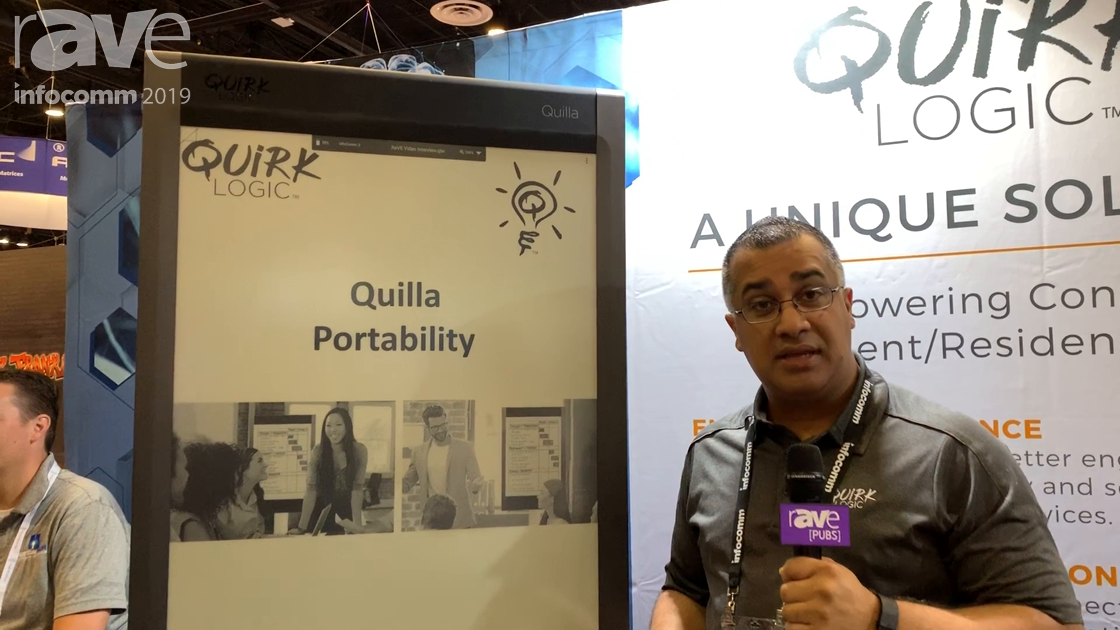 InfoComm 2019: QuirkLogic Demos Portability of Battery-Powered Quilla E-Ink Collaboration Display