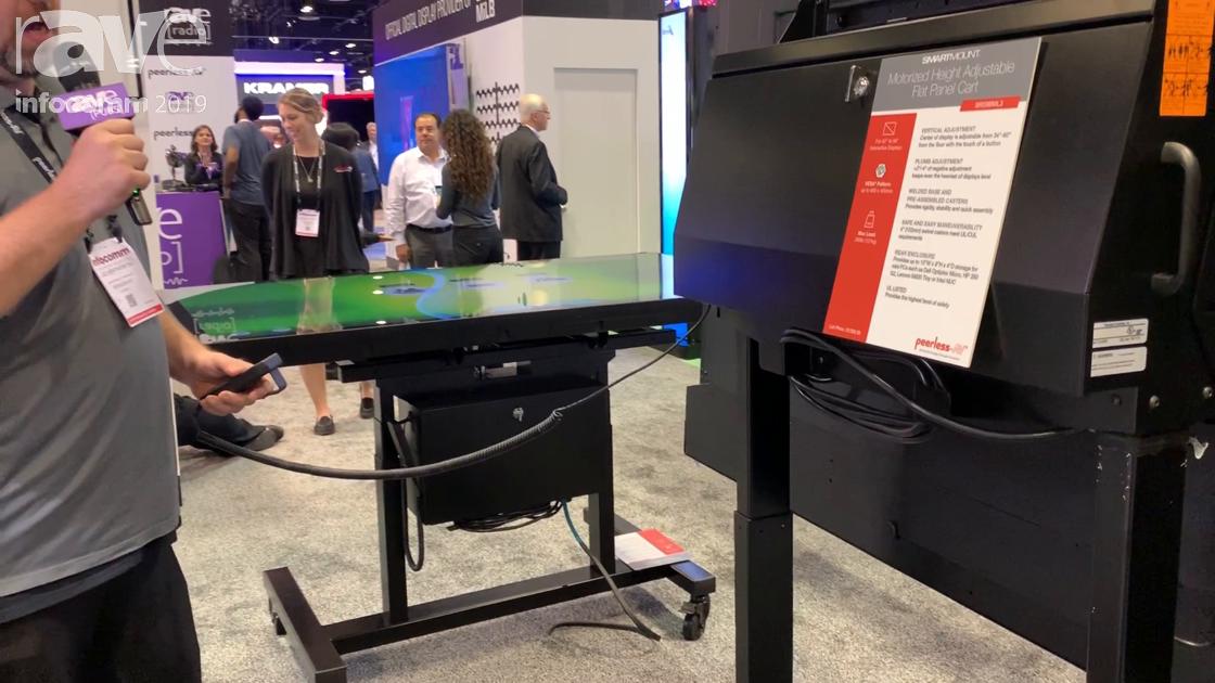 InfoComm 2019: Peerless-AV Shows SR598ML3 Motorized Cart for Raising and Lowering a Touch Display