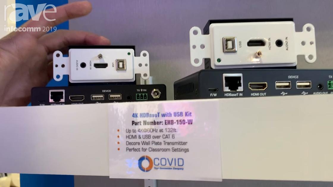 InfoComm 2019: Covid Shows EHB-150-W 4K HDBaseT Extender for Sending HDMI, USB Over Cat6