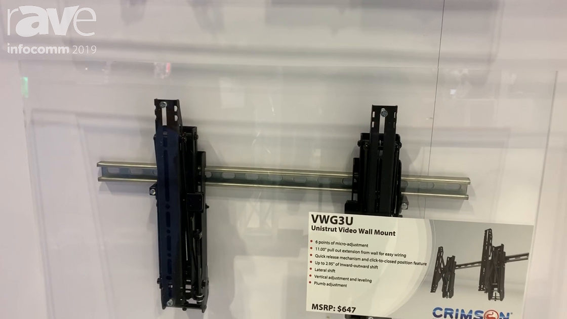 InfoComm 2019: Crimson AV Showcases the VWG3U Unistrut Video Wall Mount