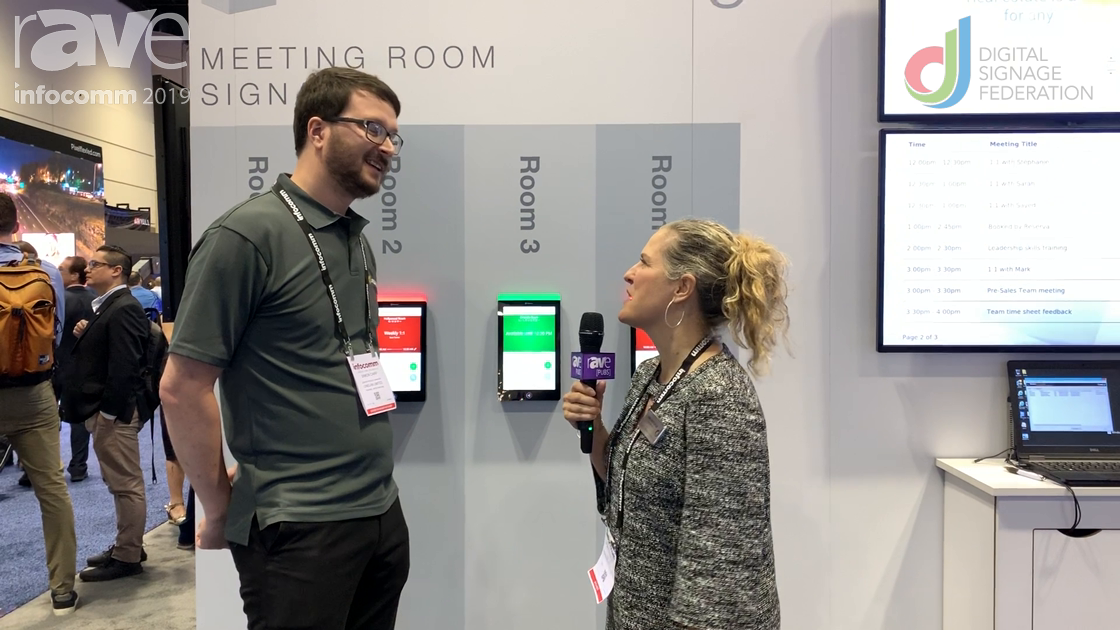InfoComm 2019: Onelan Shows Reserva Edge Meeting Room Signage Solution to Laura Davis-Taylor
