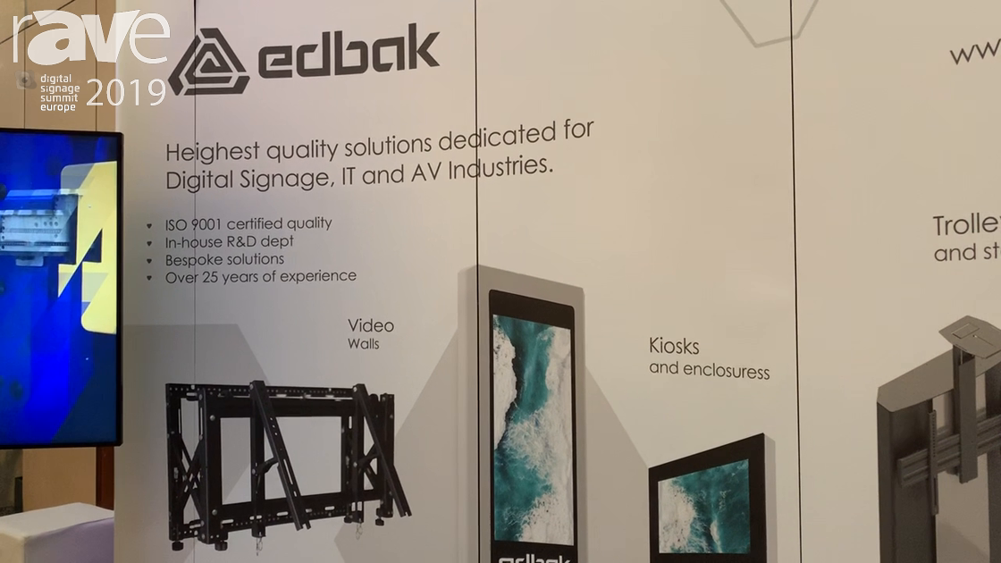DSSE 2019: edbak Shows Line-Up of Mounting Solutions for Digital Signage Displays and Applications