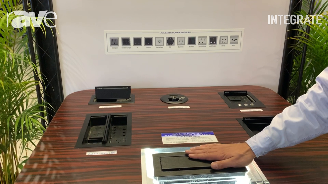 Integrate 2019: Extron Demos How the Cable Cubby Series Keeps Conferencing Tables Neat But Functiona