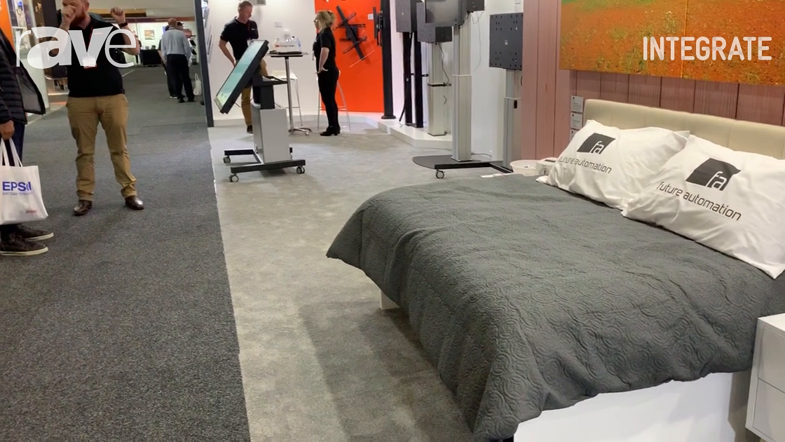Integrate 2019: Future Automation Demos Under-Bed TV Lift with Swivel on the Canohm Australia Stand
