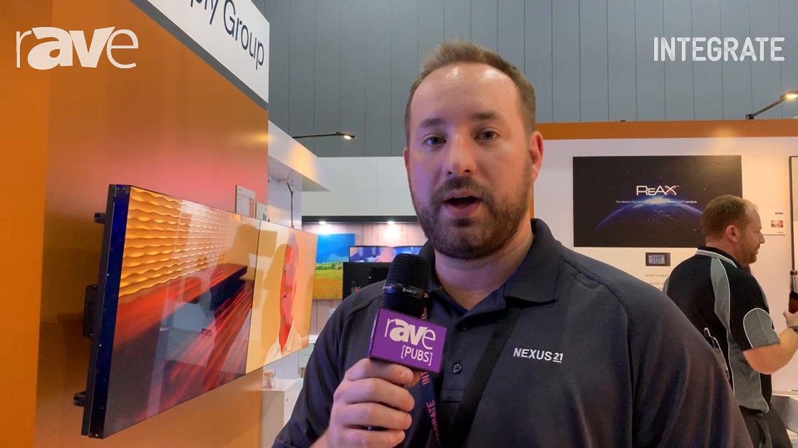 Integrate 2019: Nexus 21 Demos Apex Motorized Wall Mount in the AV Supply Group Stand
