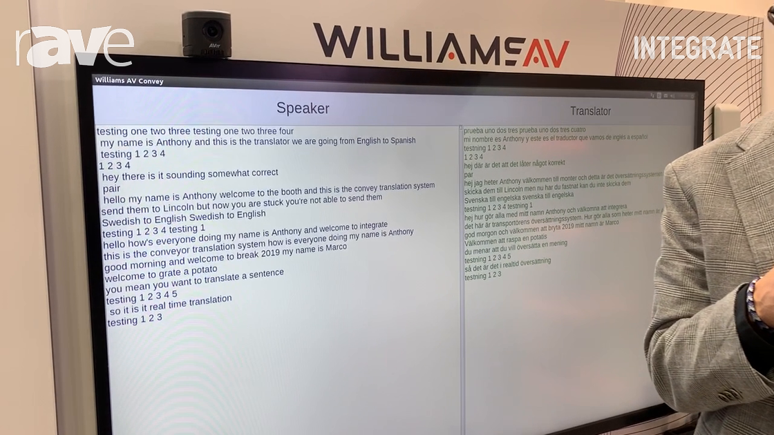 Integrate 2019: Williams AV Demos Real-Time, AI-Based Convey Translation System on Hills Stand