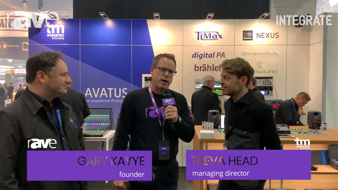 Integrate 2019: Treva Head and Mark Lownds of tm stagetec systems Talk to Gary Kayye About Audio